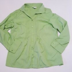 Coldwater Creek 1x Pleated Button Shirt Green