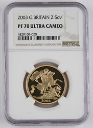 Great Britain Uk 2003 2 Pound/sovereign 0.47 Oz Agw Gold Proof Coin Ngc Pf70 Uc