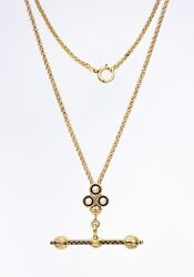 Antique • Victorian 14k Gold Enamel Clover W/ Pearl Slide Chain And T-bar Necklace