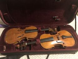 Two Beautiful Antique Violins With Five Bows For Restoration And Repair