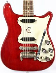 Vintage 1965 Epiphone Olympic Double Electric Guitar W/ Ohsc Cherry Sb722d