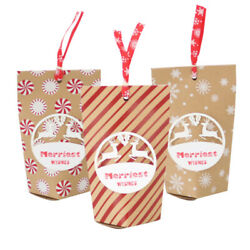 24pcs Christmas Gift Bags Treats Apple Candy Containers For Festival Holiday