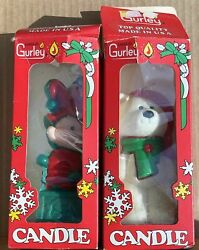 Vintage Set Of 2 Gurley Christmas Candles 5.5 Jack In The Box And Polar Bear