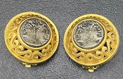 Vtg Linda Levinson Roman Coin Clip On Earrings Etruscan Matte Costume Jewelry