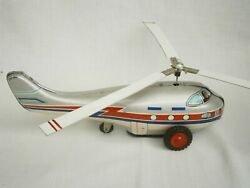 Vintage Rare Chinese Helicopter Wind-up Tin Toy Circa 1950 + Key