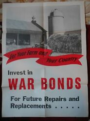 1943 Ww2 Wwii For Your Farm And Your Country War Bonds Original Poster 28 X 20