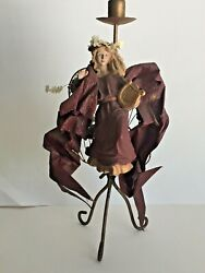 Vintage Paper Mache Angel Metal Stand Tapered Candle Holder Made In Philippines