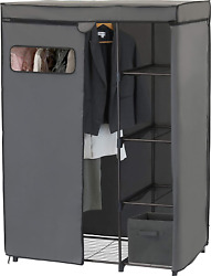 Simple Houseware Freestanding Cloths Garment Organizer Closet with Cover Dark