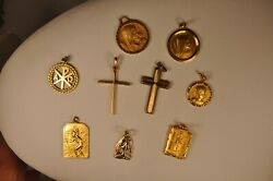 9 Pendentifs Ancien Plaque Or Medaille Antique Gold Plate Religious Medals