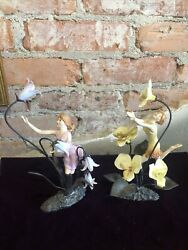 Painted Bronze Flower Fairies From England