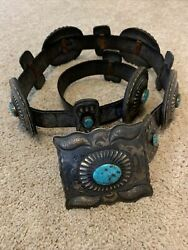 Vintage Navajo Western Leather Silver Concho Belt Turquoise Neal Paquin Jemez