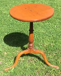 Antique 18th Century Country Queen Anne Candlestand Table Great Legs Aafa
