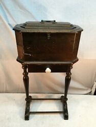 Vintage Wood Humidor Stand With Drawer , Sewing Box Stand Mid Century Wood Side