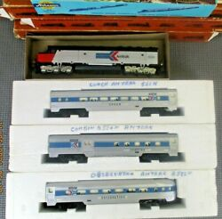 Vintage Tyco Amtrack Ho Train Combine, Coach, Observation + Athearn Diesel Loco