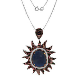 Heavy 21.96ct Slice Sapphire And Diamond 18k Gold And Sterling Sun Pendant 18 Chain