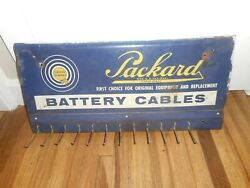 Vintage Packard Battery Cable Advertising Display Wall Hanging Gas Station Rack