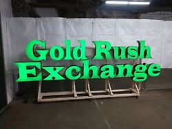 Large Metal Led Outdoor Sign Gold Rush Exchange Pawn Shop Store Front Jewelers