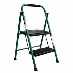 Efine 2 Step Ladder Folding Step Stool Oversized Pedal And 2-step Green