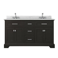Laxton 61 In Double Bathroom Vanity With Italian White Carrara Marble Top
