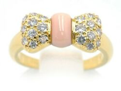 Authentic And Nou Papillon Diamond Coral Ring Size I K18yg Used
