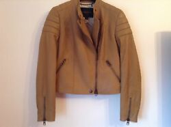 Bnwt 100 Auth Coach Ladies Tan Brown Leather Biker Jacket. S/m Rrp Andpound1200