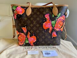 💖💯auth Louis Vuitton X Stephen Sprouse Monogram Roses Neverfull Mm Tote Bag🌺