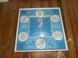 Vintage Mid Century Ge General Electric Zodiac Astrology Wall Hanging Clock