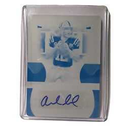 2020 National Treasures Andrew Luck Printing Plate Sticker Autograph 1 Of 1