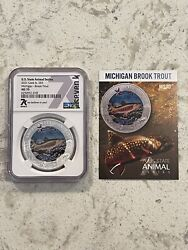 🐟 Limited Mint Ms70 Michigan Brook Trout State Animal Series 1oz Silver 7k 🔥