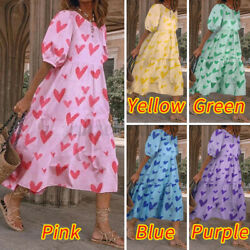 Women Vintage Printed Shirt Dress Party Club Prom Dresses Oversized Casual Dress