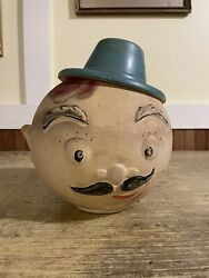 Vintage American Bisque French Man 1940s Cookie Jar As Is