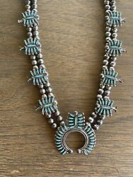 Zuni Native American Silver And Needlepoint Turquoise Squash Blossom Necklace