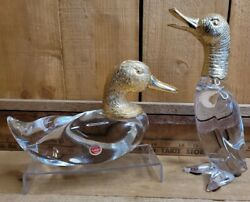 Vintage Mcm Frederick Cooper Chicago Brass And Glass Heavy Duck Figurines Set Of 2