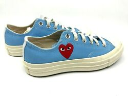 Converse New Comme Des Garcons Play Blue Low Top Heart Chuck Sneakers Us 8