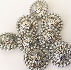 Reserved 2 Silver and Pearl Stamped Chanel Buttons $26.00