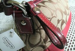 COACH WOMEN#x27;S NEW WITH TAGS SIGNATURE COACH AND LEATHER SATCHEL SHOULDER BAG $149.99