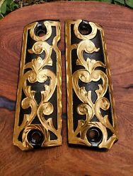 1911 Handles Grips Best Accessory Cachas Colt Gold Plated Design
