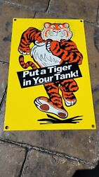 Old Esso Gasoline Porcelain Gas Pump Sign Put A Tiger In Your Tank