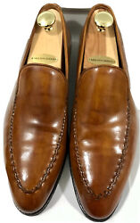 1550 Bontoni Leather Burnished Brown Loafer Dress Shoes Mens Size 12 Dome Italy