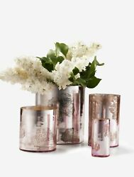 Serene Spaces Living Antique Pink Glass Cylinders, Set Of 9