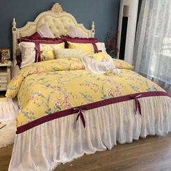 French Pastoral Long Staple Cotton Flowers Bedding Set Lace Cover Bed Skirt