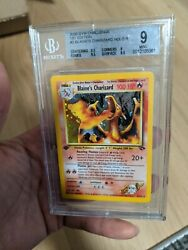 Pokemon Blaineand039s Charizard Holo Bgs 9 Mint Strong 9 Clean 1st Edition 2/132