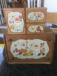 Vintage Woodpecker Made In Japan Wooden Breadbox Canisters Set