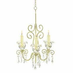 Shabby Elegance Scrollwork Chandelier - Three Candle Cups - 24.75 Inches Tall