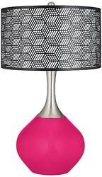 French Burgundy Black Metal Shade Spencer Table Lamp