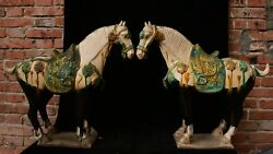 21.5 Old Chinese Tang Sancai Pottery Dynasty Animal Horse Success Statue Pair