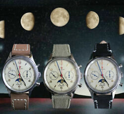 1963 St1908 Seagull Moon Phase Chronograph Military Pilot Hand Wind Watch 40mm