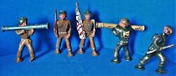 Vintage Lot Of 5 Cast Iron Toy Soldiers By Manoil