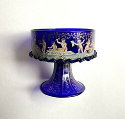 Museum Quality Enameled Murano Glass Footed Cup Putti Musicians 19th C Salviati