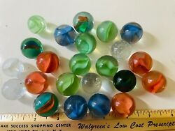 23 Vintage Glass Marbles 1 Inch 1950s Swirls Cats Eye And More